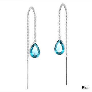 Handmade Cubic Zirconia Teardrop Thread Slide .925 Silver Earrings (Thailand)