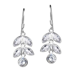 Handmade Icycles Drop Marquise CZ Dangle Sterling Silver Earrings (Thailand)
