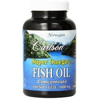 Carlson Labs Super Omega-3 Gems Norwegian Fish Oil Concentrate 1000 mg (100 Softgels)
