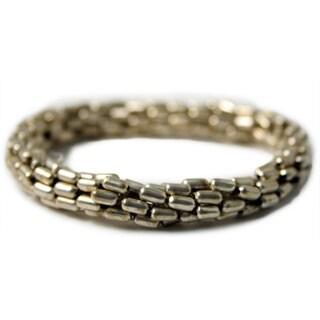 Handmade White Metal Stretchy Bracelet (India)