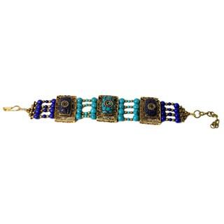 Handmade Blue Resin Adjustable Bracelet (India)