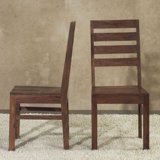 Solid Wood Ladder Back Dining Chair (Set of 2)