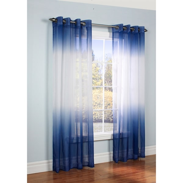 Ombre Semi Sheer Two-tone Curtain Panel - 17289780 - Overstock.com ...