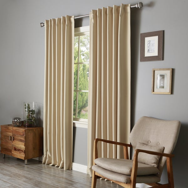Aurora Home Solid Insulated Thermal Blackout Long Length Curtain Panel Pair