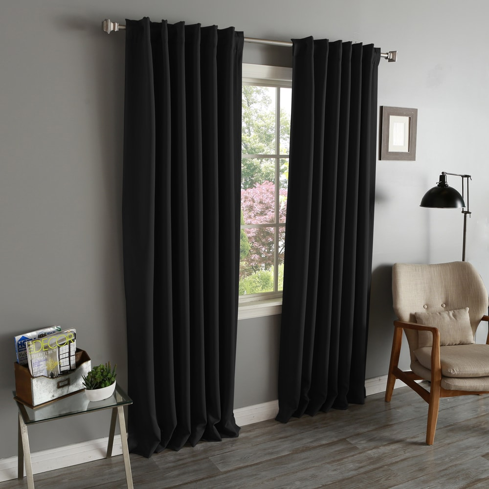 Shop Aurora Home Solid Insulated Thermal Blackout Long Length Curtain Panel Pair - 10160707