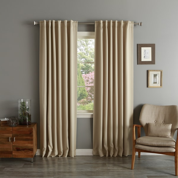 Aurora Home Solid Insulated Thermal Blackout Long Length Curtain Panel Pair. Opens flyout.