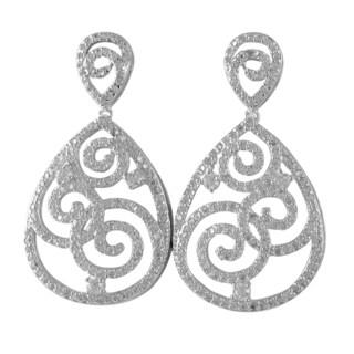 Luxiro Sterling Silver Cubic Zirconia Filigree Teardrop Dangle Earrings