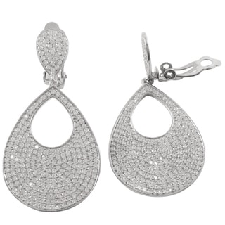Sterling Silver Micropave Cubic Zirconia Teardrop Clip-on Earrings