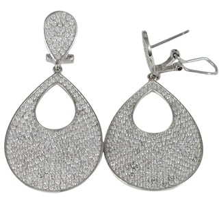 Luxiro Sterling Silver Micropave Cubic Zirconia Open Dangle Earrings
