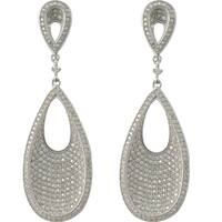 Luxiro Sterling Silver Micropave Cubic Zirconia Open Teardrop Concave Dangle Earrings