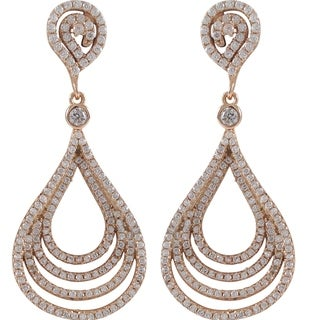 Luxiro Sterling Silver Cubic Zirconia Concentric Teardrop Dangle Earrings