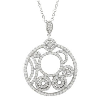 Luxiro Sterling Silver Cubic Zirconia Concentric Circles Necklace