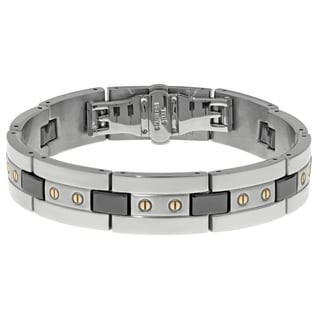 Stainless Steel Mens Ceramic Highlights Link Bracelet