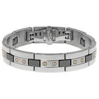 Stainless Steel Men's Ceramic Highlights Link Bracelet