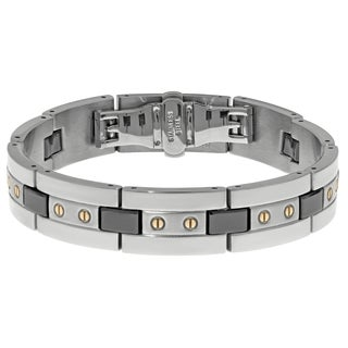 Stainless Steel Mens Ceramic Highlights Link Bracelet (2 options available)