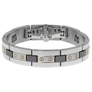 Stainless Steel Mens Ceramic Highlights Link Bracelet
