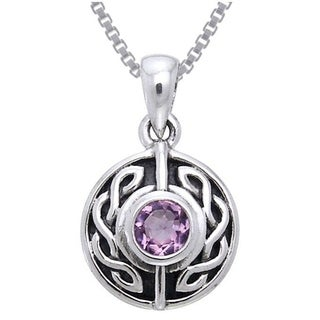 Carolina Glamour Collection Sterling Silver Gemstone Celtic Knotwork Necklace