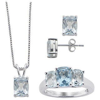 Gems For You Sterling Silver Blue Topaz 3-piece Jewelry Set