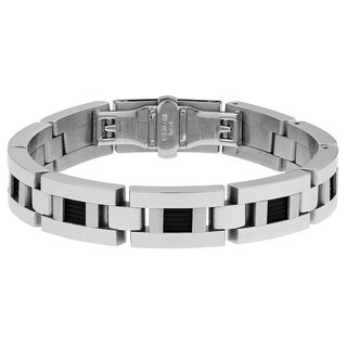 Stainless Steel Men's Two-tone Cable Inlay Link Bracelet