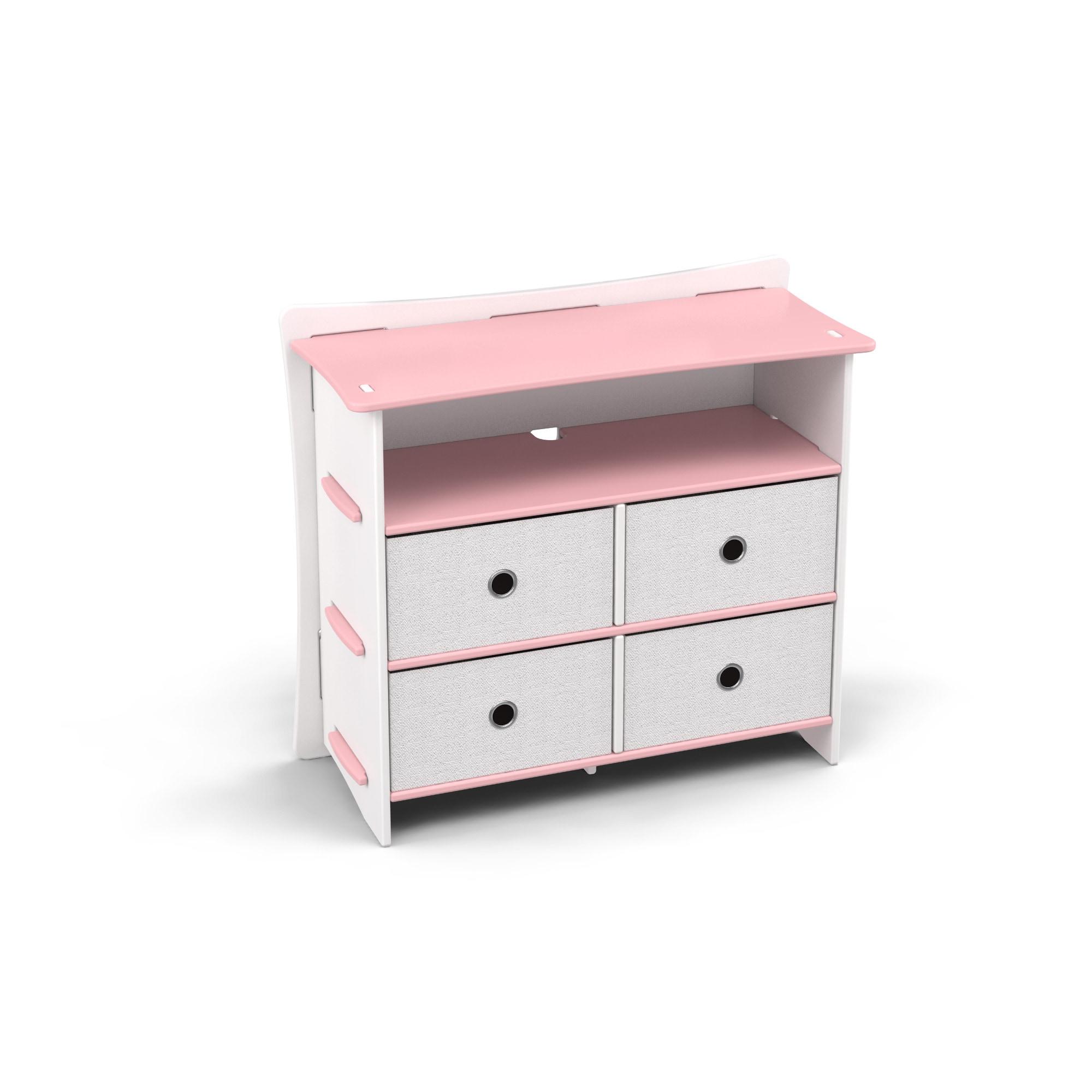LEGARE Kids Furniture 4-drawer Pink and White Dresser (4-...