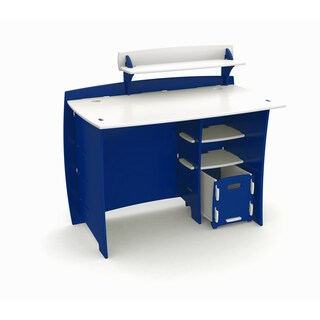 Legare Kids Furniture 43 Inch Complete Blue And White Desk System With File  Cart