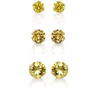Sterling Silver Citrine Yellow Cubic Zirconia 3-Pair Earring Stud Set (4, 6, 8mm)