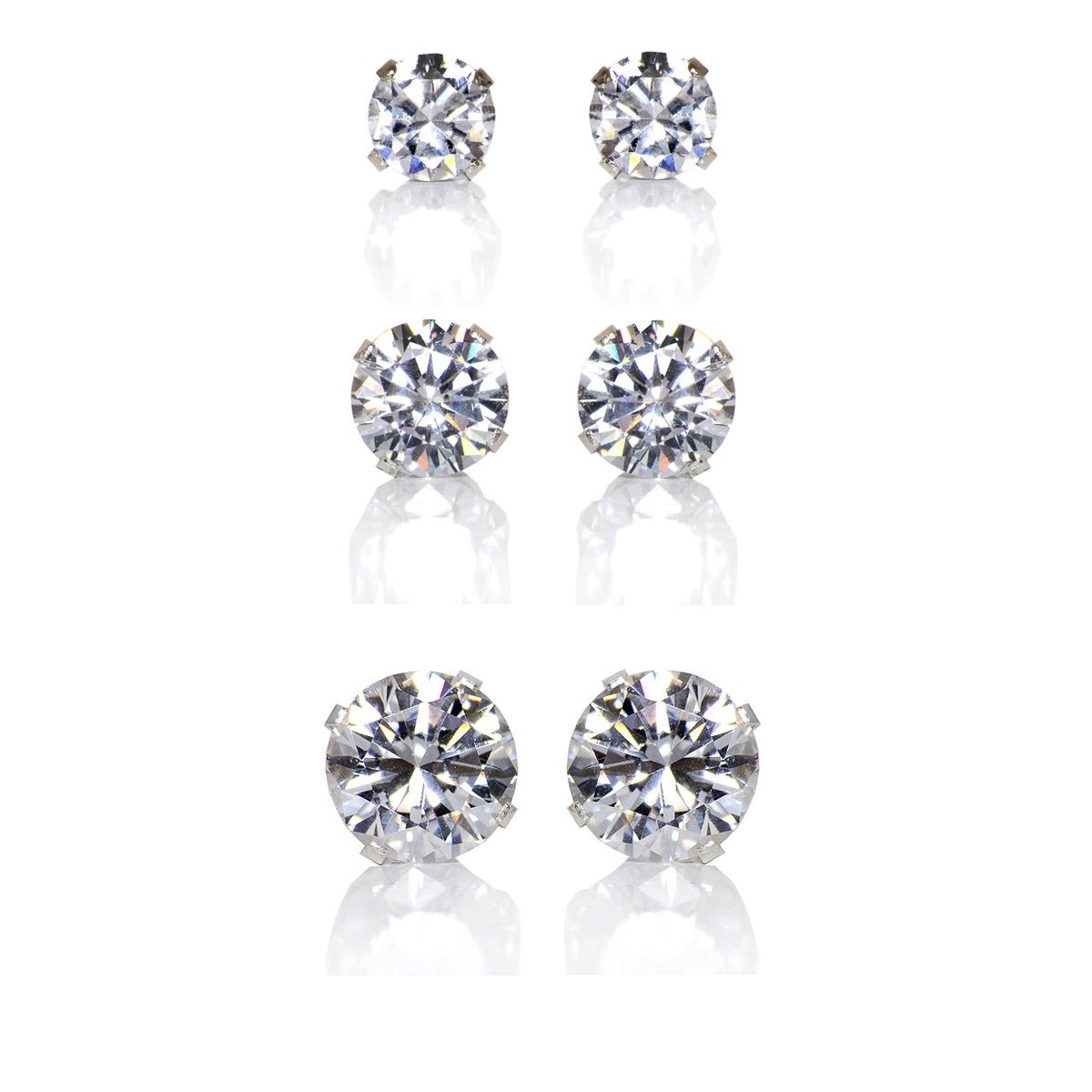 10 Pair Set Sterling Silver Cubic Zirconia Oval Earrings Studs 0.5 carats//pair
