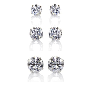 Link to Sterling Silver Clear Cubic Zirconia 3-Pair Earring Stud Set (4, 6, 8mm) Similar Items in Earrings