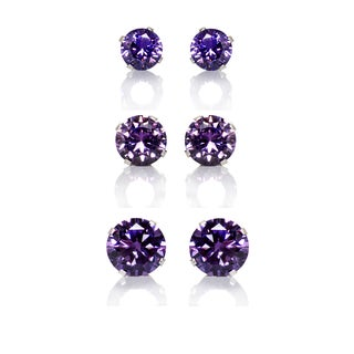 Sterling Silver Purple Colored Cubic Zirconia 3-Pair Earring Stud Set (4, 6, 8mm)
