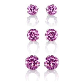 Sterling Silver Pink Colored Cubic Zirconia 3-Pair Earring Stud Set (4, 6, 8mm)
