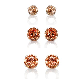 Sterling Silver Amber Colored Cubic Zirconia 3-Pair Earring Stud Set (4, 6, 8mm)