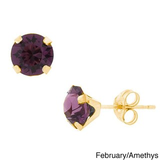 Pori 14k Gold Round-cut Crystal Elements Birthstone Stud Earrings (More options available)