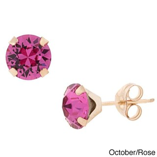 Pori 14k Gold Round-cut Crystal Elements Birthstone Stud Earrings (Option: Pink - Rose - Pink - October)