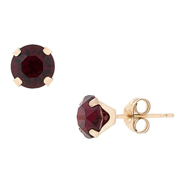 Pori 14k Gold Round Cut Crystal Elements Birthstone Stud Earrings