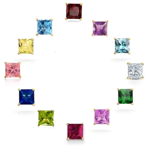 Pori 14k Gold Princess-cut Crystal Elements Birthstone Stud Earrings