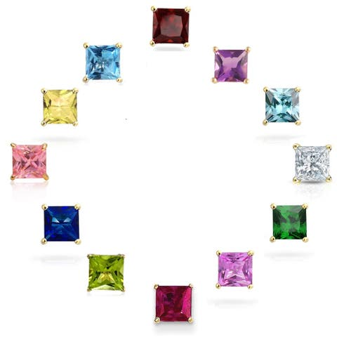 Pori 14K Gold Princess-cut Crystal Birthstone Earrings