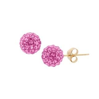 Pori 14k Gold 6mm Pave Crystal Ball Stud Earrings