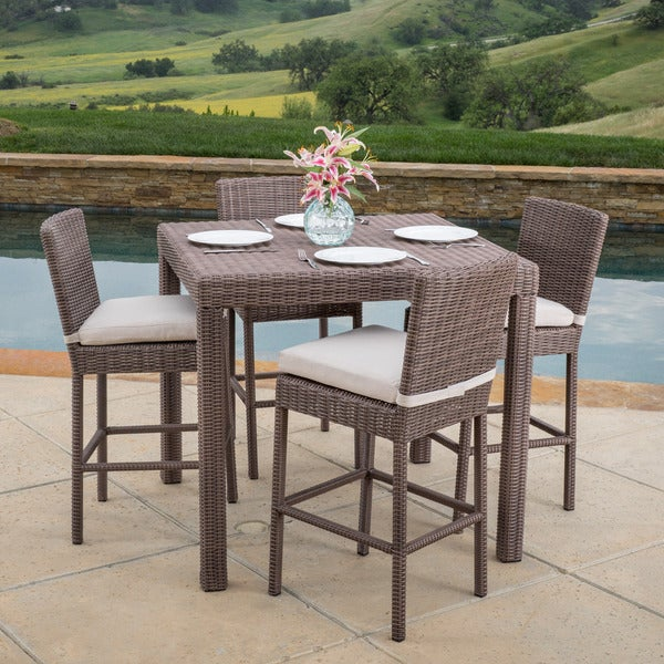 Barcelona Outdoor 5 Piece Wicker Bar Dining Set With Cushions By Christopher Knight Home
