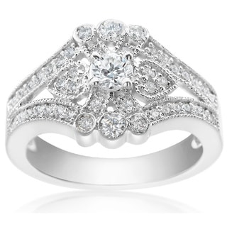 SummerRose 14k White Gold 7/8ct TDW Diamond Fashion Ring