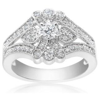 SummerRose 14k White Gold 7/8ct TDW Diamond Fashion Ring