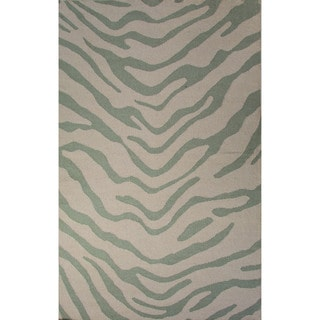 National Geographic Casual Animal Pattern Fog/Harbor gray Wool 5x8 Area Rug
