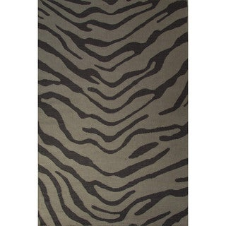 National Geographic Casual Animal Pattern Feather gray/Walnut Wool 5x8 Area Rug
