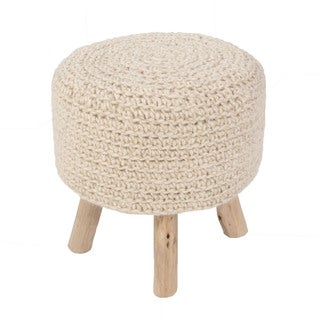 Havenside Home Surfside Solid Pattern Bleached sand Wool 16-inch Pouf