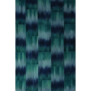 Casual Abstract Pattern Bristol blue/Enisign blue Wool 5x8 Area Rug