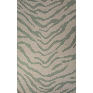 National Geographic Casual Animal Pattern Fog/Harbor gray Wool 8x10 Area Rug