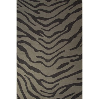 National Geographic Casual Animal Pattern Feather gray/Walnut Wool 2x3 Area Rug