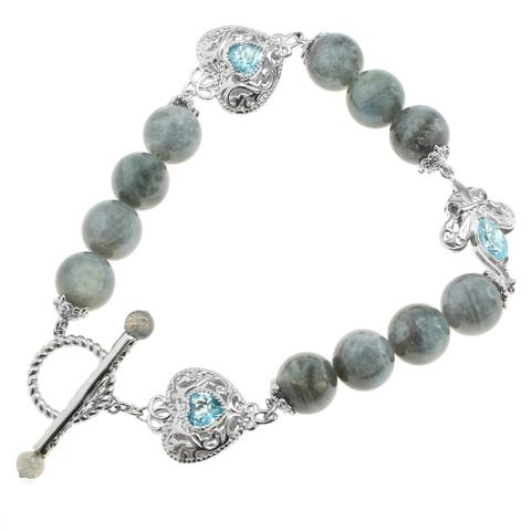 Dallas Prince Sterling Silver Labradorite & Swiss Blue Topaz Bracelet
