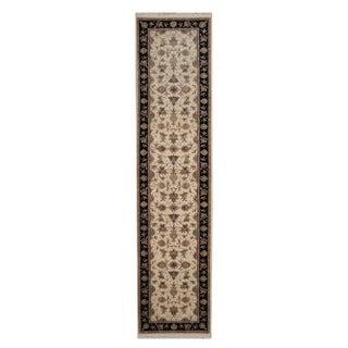 Herat Oriental Indo Hand-knotted Tabriz Ivory/ Black Wool Rug (2'7 x 10'8)
