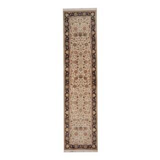 Herat Oriental Indo Hand-knotted Tabriz Ivory/ Black Wool Rug (2'6 x 10'2)