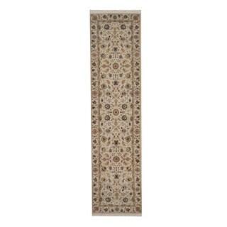 Herat Oriental Indo Hand-knotted Tabriz Ivory/ Beige Wool Rug (2'6 x 10'2)